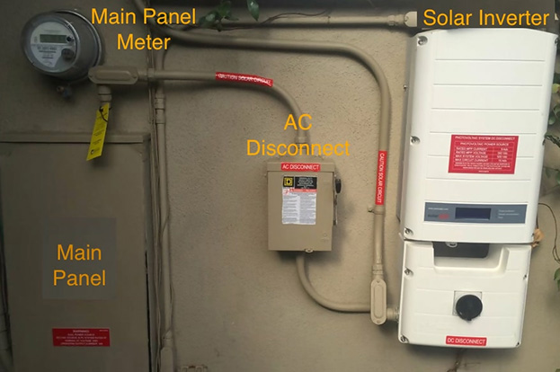 main panel meter ac disconnect solar inverter
