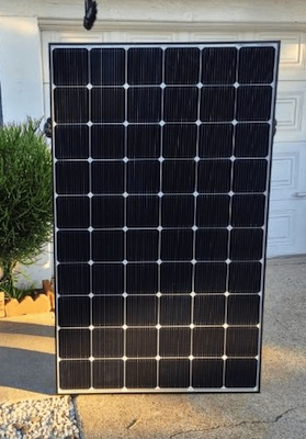 lg solar panel held standing up