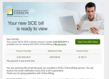 sce edison true up bill amount due