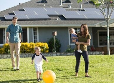 family home solar panels roof