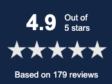 4.9 stars based out of 179 reviews 5 star reviews