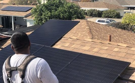 solar installation home roof